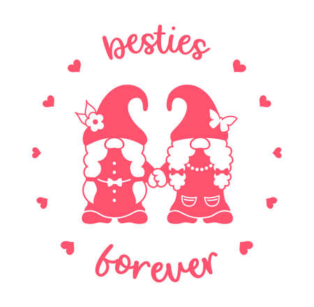 Besties forever. Gnome girls holding hands. Best friends vector silhouette design. Ilustrace