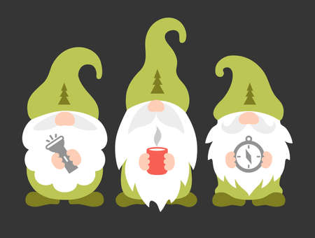 Cute camping gnomes. Travel vector illustration. Scouts or rangers design. Ilustrace