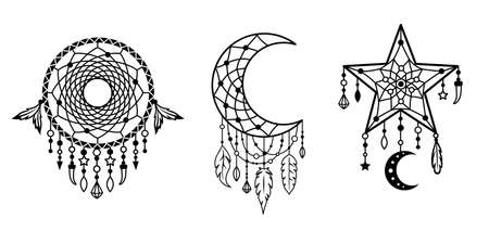 Set of dream catcher designs. Tribal indian symbol. Native american print.