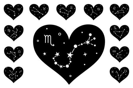 Silhouette design of constellation and zodiac signs. Vector.