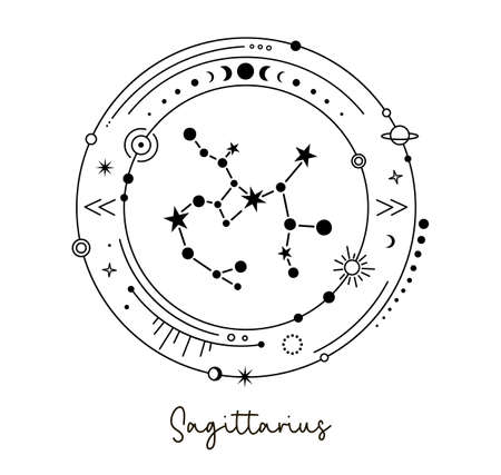 Solar system with sagittarius constellation. Astrological zodiac sign. Vector. Ilustrace