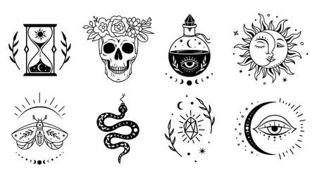 Mystical witchcraft symbol set. Vector boho design. Magic, esoteric silhouettes. Ilustrace