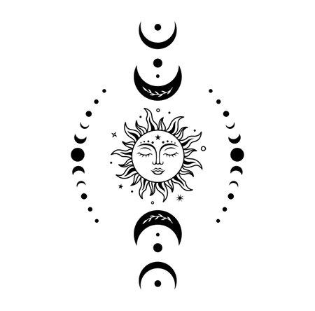 Boho sun and moon. Vector magic illustration with celestial symbols. Ilustrace