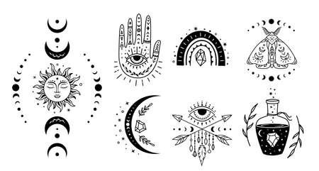 Boho design elements. Set of witchcraft mystical symbols. Magic, esoteric signs.