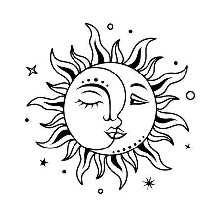 Sun amd moon with face. Boho design. Vector celestial sign. magic, mystical print.