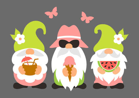 Summer gnomes vector illustration. Funny gnomes at a summer party. Cute characters in cartoon style.