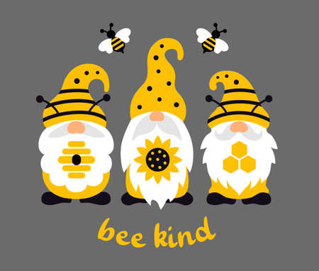 Funny summer bee gnome. Gnomes with sunflower, honeycomb and hive with quote be kind. Ilustrace