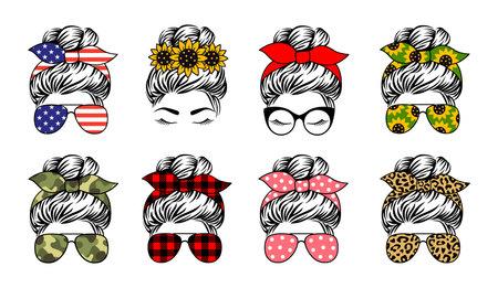 Mom life vector print. Messy bun. Set of female face designs.