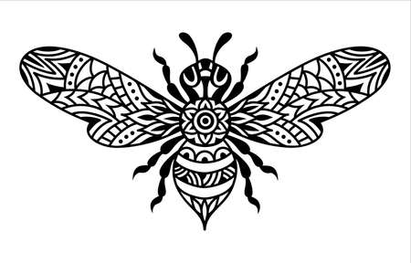 Black and white bee silhouette. Bumblebee mandala. Ilustrace
