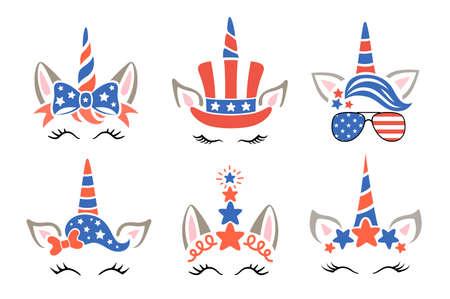 Patriopic unicorns set. 4th of july kids design. USA holiday, idependence day symbols. Ilustrace
