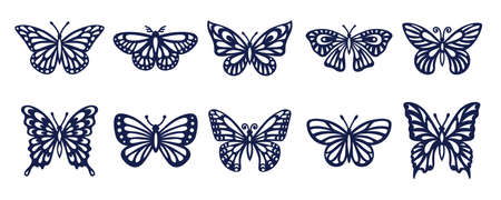 Collection of silhouettes of various butterflies. Decorative elements . Vector illustration