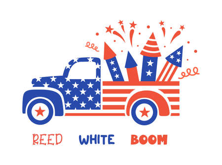 Patriotic pickup. Vector illustration with old red truck and fireworks. 4th of july card. Ilustrace