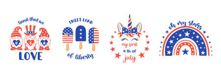 Kids patriotic design elements. Baby vector illustrations for 4th of July. Independence day print. Ilustrace