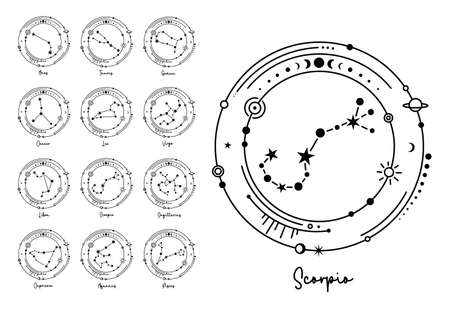 Constellations astrological symbols. Vector zodiac signs silhouette. Ilustrace