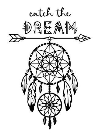 Dream catcher design. Vector silhouette. tribal, native american symbol.