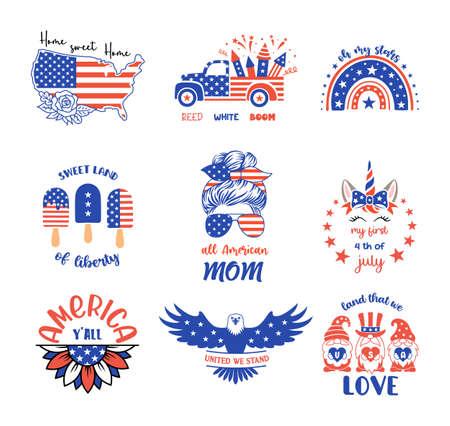 4th of July vector illustrations. Patriotic design elements set. Ilustrace