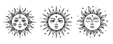Vector suns set. Monochrome engraving illustration. Vector celestial sign.