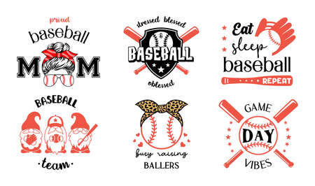 Set of Baseball symbols with quote. Vector silhouette signs labels and emblems. Ilustrace