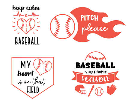 Vector Baseball designs. Sport signs labels and prints. softball symbols with quote. Ilustrace
