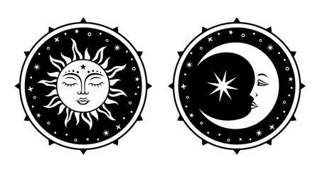 Crescent moon and sun silhouette sign. Vector celestial mystical desidn. Ilustrace