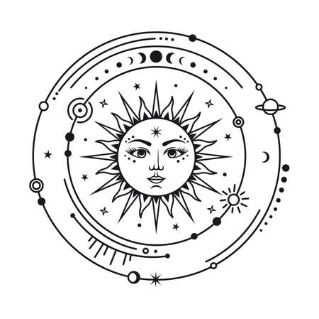 Monochrome sign of the sun in space. Vector celestial design. Astrology and astronomy linear symbol.