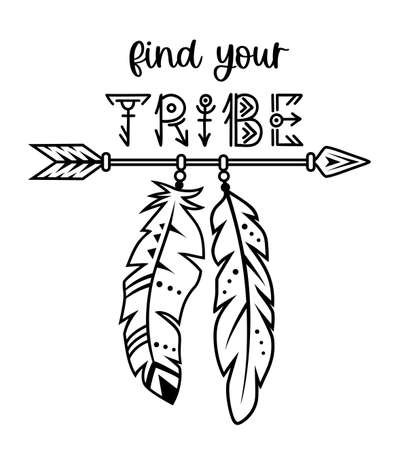 Native american design. Tribal vector sign. Indian arrow with quote.