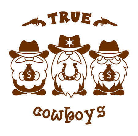 Funny Gnome cowboys. Western silhouette sign. Country illustration. Ilustrace