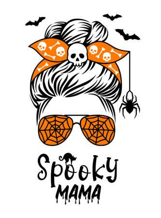 Halloween Mom life vector print. Messy bun design. Spooky mama witch.