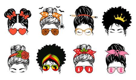 Messy bun. Mom life vector print. Set of various female face designs. Vektorgrafik