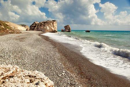 afrodita: Playa de Petra tou romiou (Afrodita) Foto de archivo