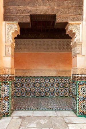 Marrakech madrasah walls ornament  photo