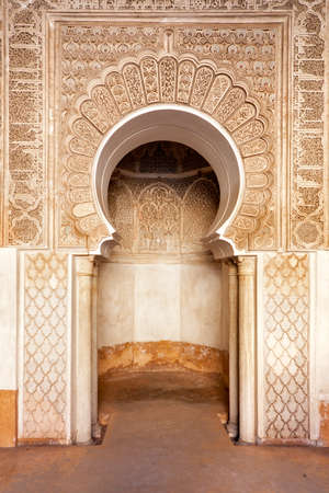 Marrakech madrasah walls ornament  photo