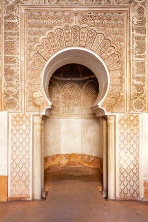 medina: Marrakech madrasah walls ornament