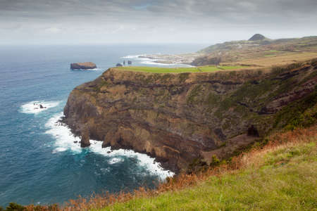 agriculture azores: Aerial view to Mosteiros city over fields, San Miguel, Azores, Portugal