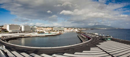 View to the eastern part of Ponta Delgada city from marina, San miguel, Azores, Portugal photo