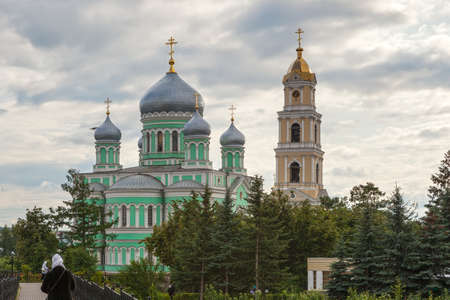 seraphim: Holy Trinity Church and Bell Tower of Troitsky Serafimo-Diveyevsky Convent under clouds‎, Diveyevo, Russia
