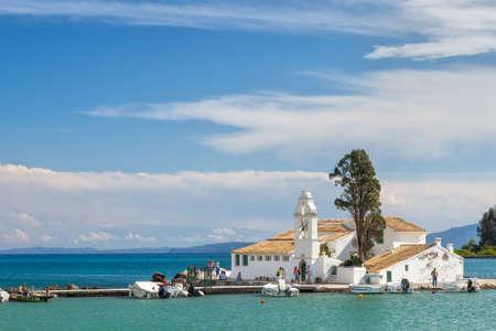 kerkyra: View to the famous touristic landmark Monastery of Panagia Vlahernon under clouds, Kerkyra, Corfu, Greece Stock Photo