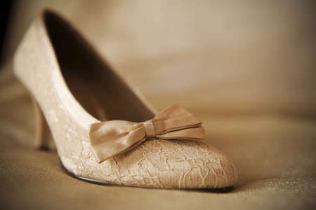 lint: a beige wedding shoe with lint on beige material