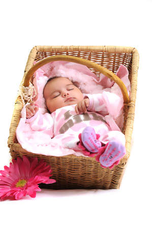 baby girl laying in a brown basket, white beads and big pink flower photo