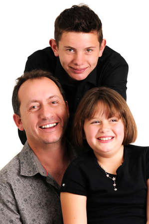 young man with his young daughter and teenager son smiling photo