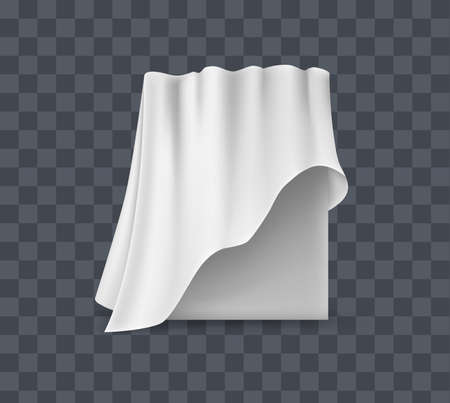 Draped table covers. Big realistic hanging napkin, tablecloth, curtain. White silk cloth covered tablecloth, fabric curtain secret hidden paintings. Realistic vector on transparent background.