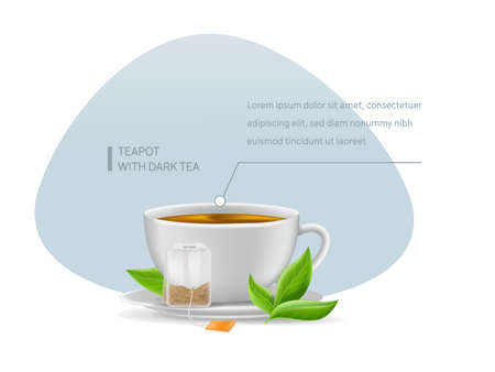 Realistic ceramic cup with hot fresh black tea in pyramidal tea bag on saucer with mint leaves infographic on a light background vector illustration
