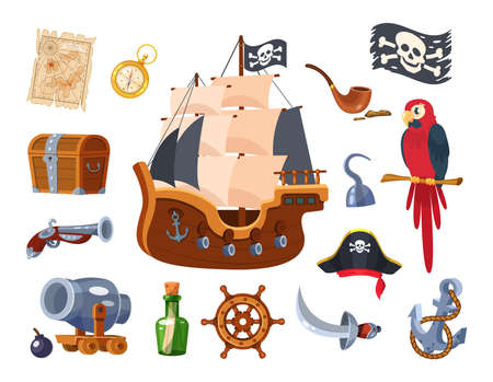 Adventure pirate set. Pirate ship equipment, treasure map and box, weapon, parrot, compass, treasure chest, pipe with tobacco, hat, flag, pistol, bottle of rum. Symbols of sea adventure vector Illusztráció