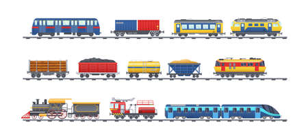 Freight train with wagons, tanks, freight, cisterns. Railway locomotive train with oil wagon, transportation cargo, railway crane for lifting cargo, transport locomotive, subway metro vector isolated