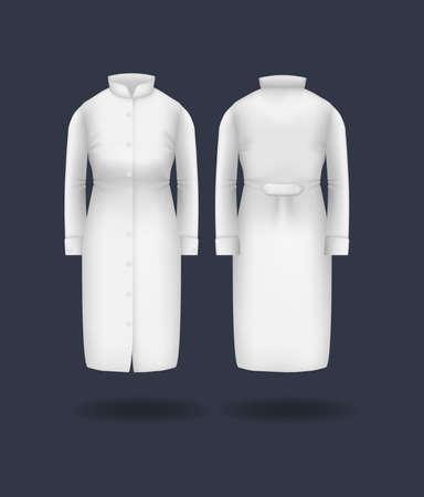 Realistic doctor coat mock up. Women's medical gown, lab uniform, doctor medical laboratory clothes, hospital professional suit on transparent background isolated mockup vector Vektorgrafik