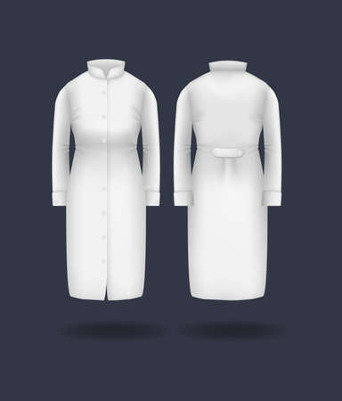 Realistic doctor coat mock up. Women's medical gown, lab uniform, doctor medical laboratory clothes, hospital professional suit on transparent background isolated mockup vector Vektorové ilustrace