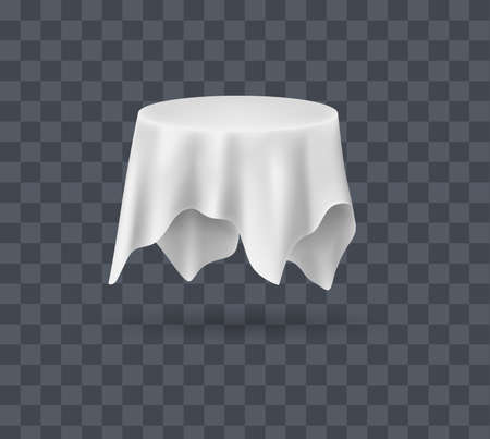 Draped table covers. Big realistic hanging napkin, tablecloth, curtain. White silk cloth covered tablecloth, fabric curtain secret hidden round table. Realistic vector on transparent background.