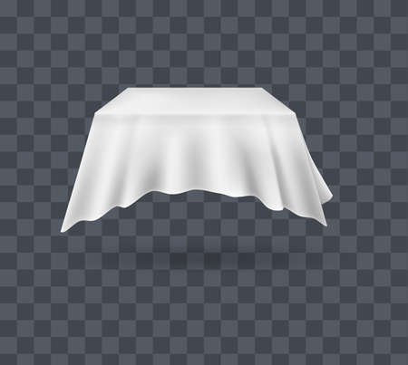 Draped table covers. Big realistic hanging napkin, tablecloth, curtain. White silk cloth covered tablecloth, fabric curtain secret hidden table. Realistic vector on transparent background.