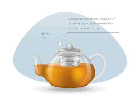 Realistic glass custard transparent teapot with hot fresh black tea infographic on a light background. Teapot with lid and tea leaves compartment vector illustration