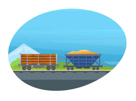 Freight wagon for transportation cargo with sand and wood vector isolated